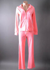 2 Piece VELOUR Casual Sport Zip Hoodie Jacket and Flare Pant Tracksuit S M L