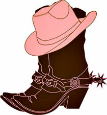 20  WATER SLIDE NAIL ART  DECAL TRANSFERS BROWN BOOTS PINK COWGIRL HAT