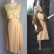 Vintage 1940's Peach Silk Chiffon Dress With Lace Detail