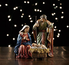 YC168  Nativity Set 3 piece tallest 5 inch. Painted Stone resin Holy Family