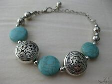 Turquoise Tibetan Silver Chain bracelet With Silver Beads