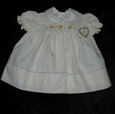NWT VINTAGE BABY TOGS HAND-SMOCKED EMBROIDERED EASTER DRESS CHICKS 6-9 MONTHS