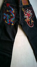 ED HARDY JEANS CHRISTIAN AUDIGIER MEN'S EMBROIDERED SHE DEVIL MERMAID 32 X 34