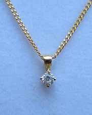 New .10ct SI2 Diamond Solitaire 9ct Yellow Gold Pendant Necklace & 18 inch Chain