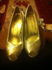 "ladies-silver Metallic 4"" Heel Party/Dance Shoes by Dorothy Perkins-Size 5-fab!!"