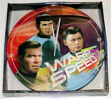 STAR TREK The ENTERPRISE Captain Kirk Spock Battery QUARTZ WALL CLOCK 13-1/2 New