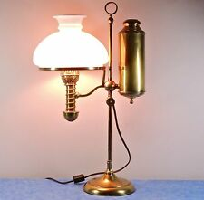 "Antique Manhattan Brass Co. 21"" Student Conv. Oil Lamp- Milk Glass Shade- 1870s"