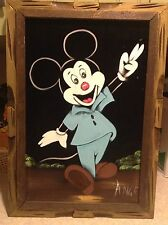 Vtg Mickey Mouse On Black Velvet Painting Wooden Frame signed Ange