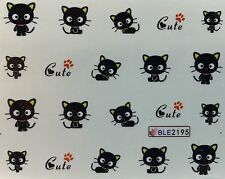 Nail Art Water Decals Cute Black Cat Kitten Halloween BLE2195