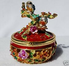 SWAROVSKI CRYSTAL BEJEWELED ENAMELED HINGED TRINKET BOX - TWO BIRDS IN TREE