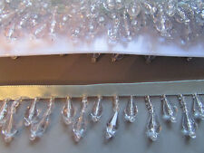 Light Blue Beaded Fringe/Trim TOP QUALITY 45% GLASS Sewing/Costume/Crafts