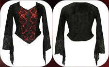 Dark Star Red Velvet & Black Lace Gothic Vampire Witch Top Top Freesize 12-16