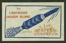 1934 INDIA rocket stamp TO LIGHTHOUSE signed Stephen H. Smith EZ 2A1