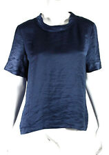 LANVIN Prussian Blue Poly Washed Satin Short Sleeve Blouse 40