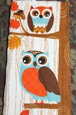FUN PRINTED COTTON KITCHEN DISH TOWEL  Fall  Cute Owls in a Tree Acorns Leaves