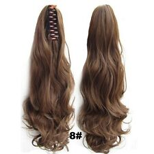 """22"""" Claw Pony tail Ponytail Clip In On Hair Extension Wavy Curly Style 27 Colors"""