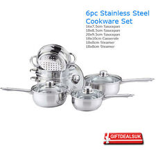 6PC COOKWARE / STEAMER SET SAUCEPAN PAN POT KITCHEN COOK SAUCE STAINLESS STEEL