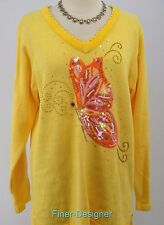 Quacker Factory pullover sweater jumper V neck knit top butterfly bead tunic M