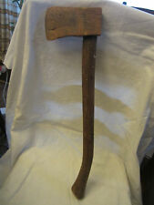 """Primitive Country Rustic Carved Wood 23"""" Long Hand Axe Hatchet"""