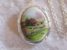 #JRK924 Farm Cottage Rose Locket Antique Silver Necklace Porcelain Cameo Memory