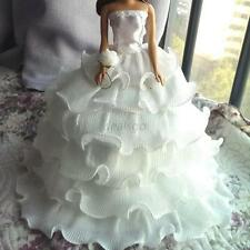 Chic Handmade White Wedding Party Bridal Gown Dress Clothes for Barbie Doll D75