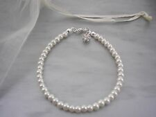10fd Dainty 4mm Pearl Bracelet with a Pave Diamante dangle Child & Adult Sizes