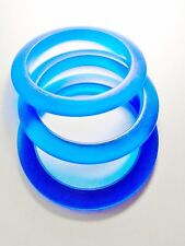 Vintage Lucite Frosted Translucent Beach Glass Royal  Blue Bangles Bracelet