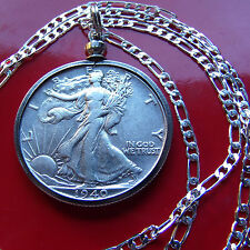 "Neat 1940 Silver Walking Liberty on a 30"" 925 Sterling Silver Figaro Chain"
