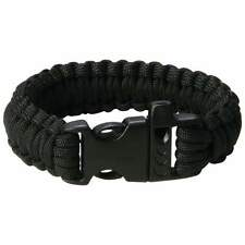 New Black Paracord Bracelet Wristband Rope Cord Military Survival Whistle Buckle