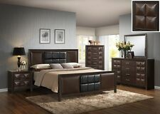 Modern Cal. King Size 4 Pc Bedroom Set Coco Brown Bed Mirror Dresser Nightstand
