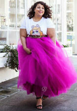 Plus Size 5 Layers Tulle Skirt Summer Midi Skirts Tutu Maxi Pleated Skirt
