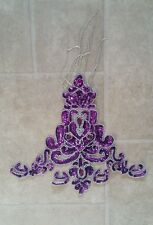 Purple & silver Jewel Sequin Indian wedding dance costume rhinestone applique