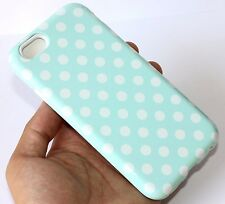 For iPhone 6 / 6S - HARD & SOFT RUBBER HYBRID IMPACT CASE PEARL BLUE POLKA DOT