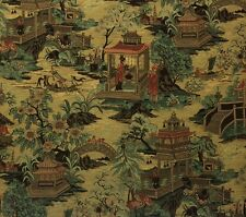 "ASIAN DYNASTY SUNSET D4079 CHINOSERIE JACQUARD UPHOLSTERY FABRIC BY YARD 56""W"