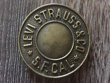 VINTAGE 1980'S SOLID BRASS LEVIS STRAUSS LARGE ROUND RIVET MENS BELT BUCKLE