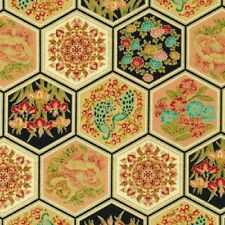 Fat Quarter Asian Fanfare Metallic Oriental Cotton Quilting Fabric 2301M