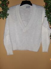 IVORY, LONG VNECK CABLE NECK SWEATER  BY SPICE OF LIFE SZ M