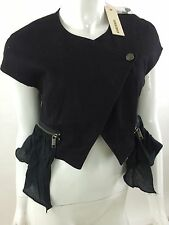 RPP 130£ Diesel Women's G-Frou Short Sleeve Denim Jacket Size L Color Black