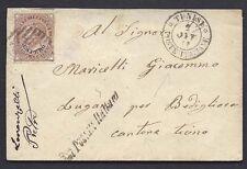 STORIA POSTALE Regno 1878 Lettera 30c da Tunisi a Lugano Bedigliora (GB1)