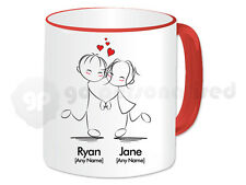 Personalised Love Mug- Dancing Couple Design- Red Handle- Valentine's Gift