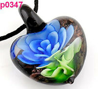 handmwok stereoscopic Flower leaf lampwork murano glass pendant necklace p347