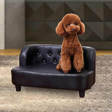 Pet Sofa Chair Cat Dog Kitten Protector Furniture Soft PU Couch Bed Seater Black