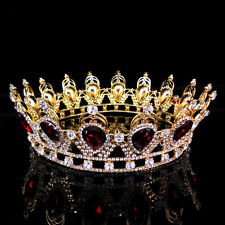 "6.75"" Wide Large Ruby Red Crystal Gold King Crown Wedding Prom Party Pageant"
