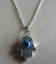 "18"" Inch 925 Sterling Silver Evil Eye Hamsa Hand Pendant Necklace"