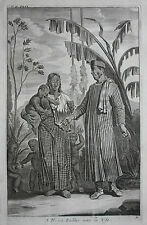 Original antique print, NEGRO PEDLER, BATAVIA, INDONESIA, Nieuhof, 1744