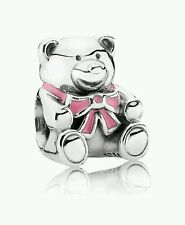 Genuine Pandora Sterling Silver baby girl Teddy Bear charm - 790395