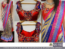BOLLYWOOD DESIGNER MULTI-COLORED SAREE WITH STYLISH DESIGNER BLOUSE PIECE