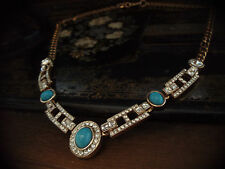 Vintage Deco Style Oval and Square Crystal and Turquoise Necklace