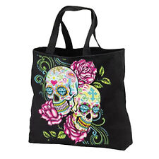 Pink Roses Sugar Skulls New Cotton Tote Bag, Day of the Dead