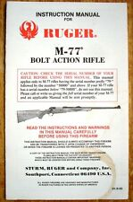 Original Instruction & Parts Manual - Ruger M-77 Bolt Action Rifle - NICE!